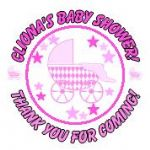 Personalised Pink Pram Baby Shower Party Stickers
